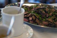 La ensalada de la comida intercala la cena de la comida del postre Foto de archivo