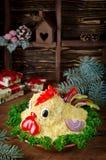 La ensalada formó el gallo por el Año Nuevo 2017 Imágenes de archivo libres de regalías
