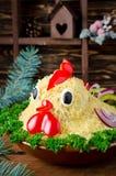 La ensalada formó el gallo por el Año Nuevo 2017 Foto de archivo libre de regalías
