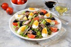 La ensalada francesa Nicoise con el atún, patatas hervidas, huevo, habas verdes, tomates, secó aceitunas, lechuga y las anchoas Foto de archivo libre de regalías