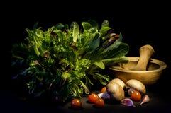 La ensalada sale las setas del tomate Foto de archivo