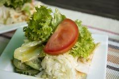 La ensalada vegetal de la mezcla y la salsa amarga sirven con el filete en la placa de cerámica Fotos de archivo libres de regalías