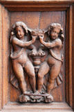 La entrada de la catedral de Spello Santa Maria Maggiore - detalle, Umbría Imagenes de archivo