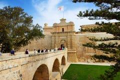 La entrada en la ciudad de Medival Mdina Imagen de archivo libre de regalías