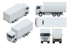 La entrega del camión, maqueta del camión aisló la plantilla en el fondo blanco Visión isométrica, lateral, delantera, trasera, s libre illustration