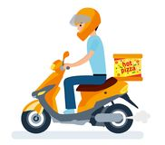 La entrega, el individuo en el ciclomotor está llevando la pizza Personajes de dibujos animados Fotos de archivo