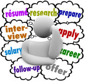 La entrevista de Job Hunting Thought Cloud Words del curriculum vitae aplica proceso libre illustration