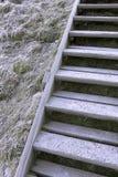 La escalera al superior acodado con hielo y nieve Fotografía de archivo