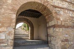 La escalera Alcazaba de la entrada Imágenes de archivo libres de regalías