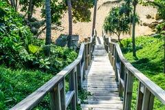 La escalera de madera abajo al hermoso y relaja la playa arenosa Imagen de archivo libre de regalías