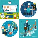 La escalera del éxito adapta estadísticas de negocio en línea Imágenes de archivo libres de regalías