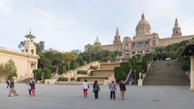 La escalera del Museo Nacional del arte de Cataluña Fotos de archivo