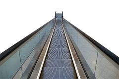 La escalera móvil moderna monta abajo Foto de archivo libre de regalías
