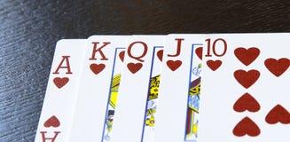 La escalera real del póker del casino de Internet carda corazones de la combinación Fotografía de archivo libre de regalías