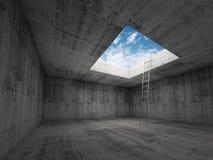 La escalera va al cielo hacia fuera del interior del sitio oscuro, 3d Foto de archivo