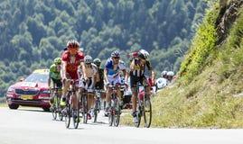 La escapada en la cuesta D'Aspin - Tour de France 2015 Imagen de archivo libre de regalías