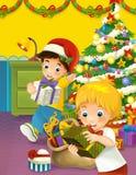 La escena de la feliz Navidad con los hermanos que toman presentes ilustración del vector