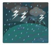 La escena de la historieta con el tiempo - tormenta sobre el pueblo - truena