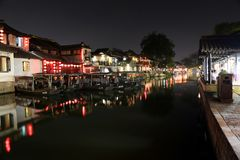 La escena de la noche en la ciudad antigua de Xitang, provincia de Zhejiang, China Imagenes de archivo