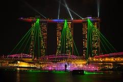 La escena de la noche de Marina Bay en Noche Vieja Fotografía de archivo