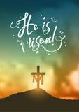 La escena de pascua del cristiano, cruz del ` s del salvador en escena dramática de la salida del sol, con el texto lo suben, eje stock de ilustración