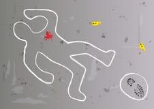 La escena del crimen con la silueta del cadáver remontó en el piso después de un asesinato stock de ilustración