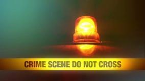 La escena del crimen no cruza la cinta amarilla de la venda y la luz que destella y rotatoria anaranjada Cinta de la policía de l almacen de metraje de vídeo