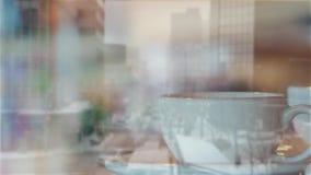 La escena del invierno se descolora al café en café metrajes