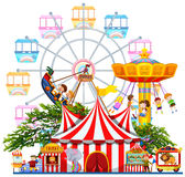 La escena del parque de atracciones con muchos monta libre illustration