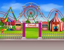 La escena del parque de atracciones en el d3ia con muchos monta fotos de archivo