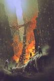 La escena del tren hecho descarrilar entrena en el valle de la roca stock de ilustración