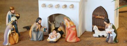 La escena palestina de la natividad con la familia santa fijó en el centro imagen de archivo