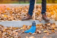 La escoba barre las hojas en el camino en el parque del otoño fotos de archivo