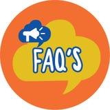 La escritura conceptual de la mano que muestra FAQ s es Lista del texto de la foto del negocio de preguntas y de respuestas refer libre illustration