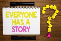 La escritura conceptual de la mano que muestra todo el mundo tiene una historia Narración de exhibición del fondo de la foto del  imagen de archivo