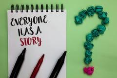 La escritura conceptual de la mano que muestra todo el mundo tiene una historia Narración de exhibición del fondo de la foto del  foto de archivo libre de regalías