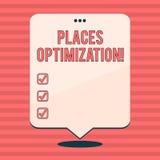 La escritura de la demostración de la nota pone la optimización Foto del negocio que muestra para mejorar la búsqueda para algo e libre illustration