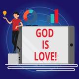 La escritura de dios de la demostración de la nota es amor Creencia de exhibición de la foto del negocio en Jesús que tiene pensa libre illustration