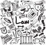 La escritura de la educación de la ley y del juicio garabatea el icono de la justicia s Foto de archivo libre de regalías
