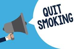 La escritura del texto de la escritura abandonó el fumar Significado del concepto que interrumpe o que para el uso del hombre del ilustración del vector