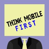 La escritura del texto de la escritura piensa el primer concepto del móvil que significa el contenido accesible 24 o 7 del dispos stock de ilustración