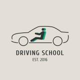 La escuela de conducción vector el logotipo, muestra, símbolo, emblema Imagen de archivo libre de regalías