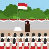 La escuela de la ceremonia de la bandera de Indonesia embroma durante día independiente nacional ilustración del vector