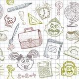 La escuela doodles el fondo inconsútil Imagen de archivo