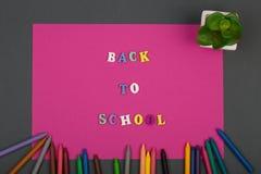 La escuela fijó con el papel, el texto y x22 rosados; De nuevo al school& x22; de letras y de creyones de madera Fotografía de archivo