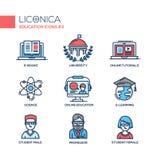 La escuela moderna y la línea fina de la educación diseñan los iconos, pictogramas Fotos de archivo libres de regalías