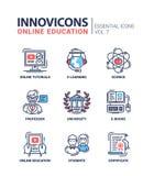 La escuela moderna y la línea fina de la educación diseñan los iconos, pictogramas Imagen de archivo libre de regalías