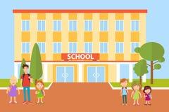 La escuela, niños va a la escuela pupilas ilustración del vector