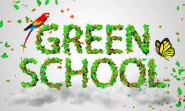 La escuela verde sale de las partículas 3D Imagenes de archivo