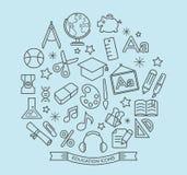 La escuela y la educación alinean iconos con estilo del esquema Fotos de archivo